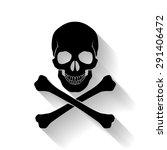 black skull and cross bones on... | Shutterstock .eps vector #291406472