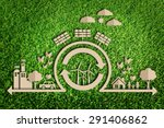 paper cut of eco on green grass | Shutterstock . vector #291406862