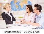 beautiful woman sitting at... | Shutterstock . vector #291421736