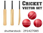set of traditional wood cricket ... | Shutterstock .eps vector #291427085