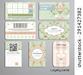 set of loyalty cards. floral... | Shutterstock .eps vector #291427382