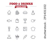 food and drinks linear icons... | Shutterstock .eps vector #291431102