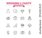wedding and party linear icons... | Shutterstock .eps vector #291431315