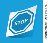 sticker with stop sign icon ...