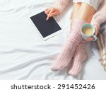 woman using tablet at cozy home ... | Shutterstock . vector #291452426