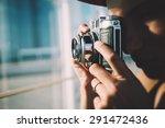 girl making a photo of summer... | Shutterstock . vector #291472436