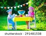 children grilling meat. family... | Shutterstock . vector #291481538