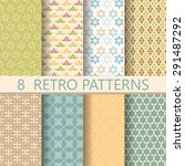 8 different retro patterns ... | Shutterstock .eps vector #291487292