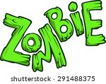 cartoon green zombie word...