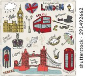 vector  london landmark symbols ... | Shutterstock .eps vector #291492662