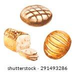 watercolor bread set. vector... | Shutterstock .eps vector #291493286