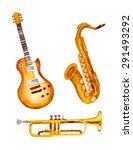 guitar  saxophone and trumpet ... | Shutterstock .eps vector #291493292