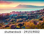 colorful spring sunset in the...   Shutterstock . vector #291519002