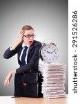woman businesswoman with clock... | Shutterstock . vector #291526286