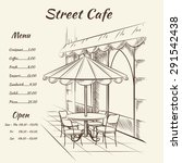 hand drawn street cafe... | Shutterstock .eps vector #291542438