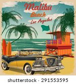 Malibu Beach  California Retro...