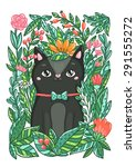 Cute Black Cat In The Flowers...