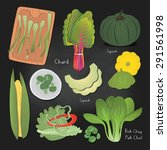 set of green vegetables on... | Shutterstock .eps vector #291561998