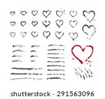 Sloppy hand painted strokes and hearts set. Vector illustration