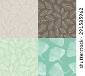 set of seamless pattern  leaves ... | Shutterstock .eps vector #291585962