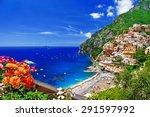 beautiful positano. coast of... | Shutterstock . vector #291597992