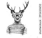 Hand Drawn Dressed Up Deer In...
