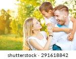 happy joyful young family... | Shutterstock . vector #291618842
