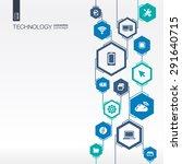technology network. hexagon... | Shutterstock .eps vector #291640715