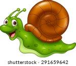 Cute Cartoon Snail On White...