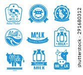 blue and white milk symbols ... | Shutterstock .eps vector #291680312