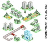 set of the isometric city... | Shutterstock .eps vector #291682502