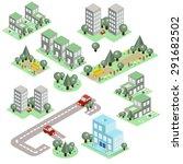 set of the isometric city... | Shutterstock .eps vector #291682502