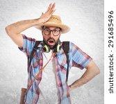 tourist doing surprise gesture... | Shutterstock . vector #291685496