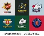 set of vintage color rugby... | Shutterstock .eps vector #291695462