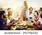 diverse people friends hanging... | Shutterstock . vector #291706232