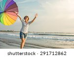 cheerful caucasian young woman... | Shutterstock . vector #291712862