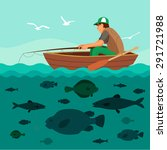 man fishing on the boat. lots... | Shutterstock .eps vector #291721988