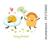 vector cute breakfast  cartoon... | Shutterstock .eps vector #291723602