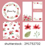 vector of flowers and leaves...   Shutterstock .eps vector #291752732