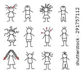 stick figure little children | Shutterstock .eps vector #291757112