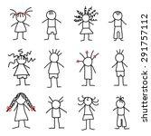 stick figure little children | Shutterstock .eps vector #291757112