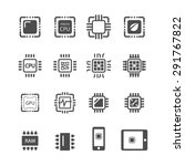 computer chips icons vector | Shutterstock .eps vector #291767822