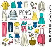 summer travel luggage. packing... | Shutterstock .eps vector #291773078