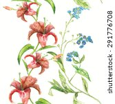 botanical vector seamless... | Shutterstock .eps vector #291776708