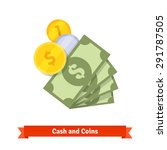 cash  green dollars  gold and... | Shutterstock .eps vector #291787505