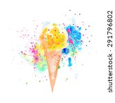 watercolor ice cream cones.  | Shutterstock . vector #291796802