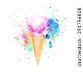 watercolor ice cream cones.  | Shutterstock . vector #291796808