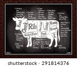 vintage poster with a cow and... | Shutterstock .eps vector #291814376