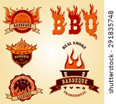 set of barbecue bbq logo  stamp ... | Shutterstock .eps vector #291835748