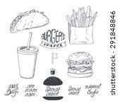 Sketched Fast Food Set In Blac...